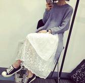 EASON SHOP(GU4908)蕾絲拼接圓領無袖背心裙內搭連身裙女上衣服素色秋冬裝韓版彈力貼身洋裝白色黑色