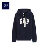 Gap女裝 Logo連帽袋鼠兜休閒上衣495410-海軍藍色