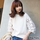 藍色巴黎 ★  韓系 純色圓領蕾絲花朵五分袖上衣 T恤  【28508】
