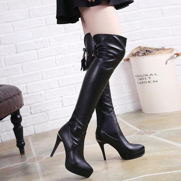 膝上靴 長靴女過膝細跟瘦瘦靴 秋冬季高跟長筒靴 顯瘦彈力靴加絨女靴子 店慶降價
