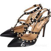VALENTINO ROCKSTUD 小牛皮壓紋鉚釘繫帶高跟鞋(黑色) 1430278-01
