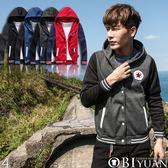 加大尺碼連帽外套【SF83185】OBI YUAN韓版星星立體毛巾繡重磅刷毛棒球外套共4色