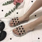 韓版ulzzang透明拖鞋女夏外穿平底休閒學生chic可愛波點一字涼拖  ciyo黛雅