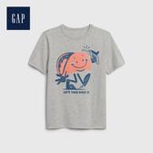 Gap 男童 棉質舒適圓領短袖T恤 539381-亮麻灰色