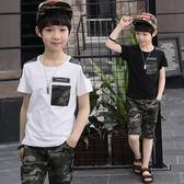 童裝男童夏裝2018新款套裝中大童男孩短袖LJ4576『miss洛羽』