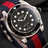 GUCCI DIVE 紅藍尼龍黑面水鬼潛水腕錶 YA136210 熱賣中!