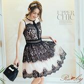 洋裝 透膚花朵蕾絲腰鏤空洋裝-Ruby s 露比午茶