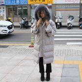 梨卡 -【韓國製】正韓國空運大毛領真毛中長版零下雪地內鋪羽絨保暖防風寬鬆外套風衣長大衣AR071