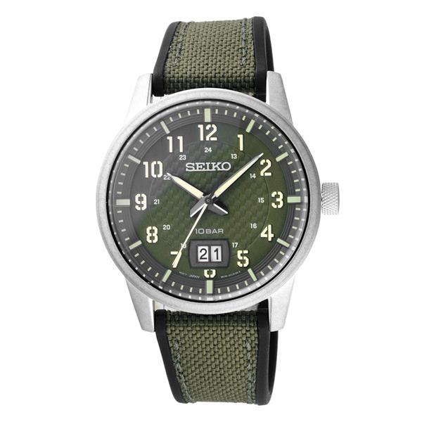 SEIKO格紋元素日期時尚腕錶-綠X銀