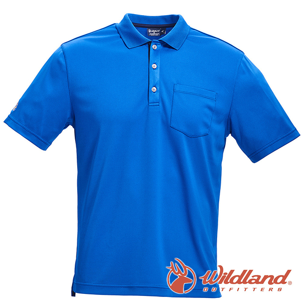 【wildland 荒野】男 椰炭紗YOKE領抗菌上衣『中藍』0A71652 T恤 POLO衫 上衣 男版 短袖 排汗 休閒