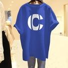 2021年夏裝新款夏藍色韓版中長款寬鬆新疆棉重磅純棉短袖t恤女ins【快速出貨】