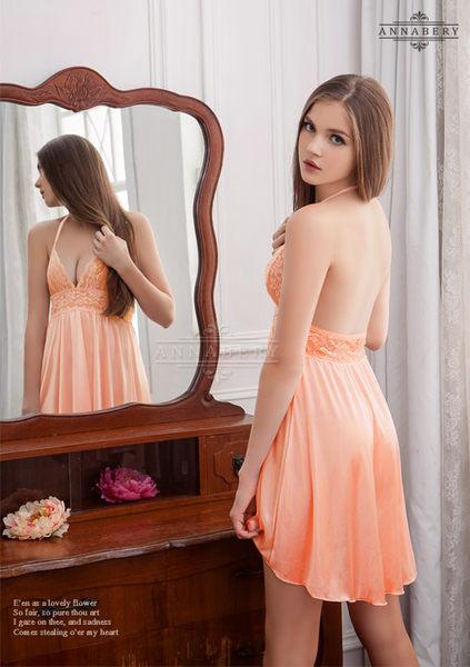 大尺碼Annabery暖橘繞頸前短後長柔緞睡衣  NY14020091