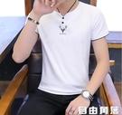 男短袖t恤 韓版夏季短袖t恤 男士v領短袖上衣 純棉夏裝丅恤 潮流半袖t恤 自由角落