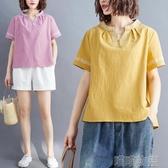 棉麻上衣 文藝復古棉麻刺繡上衣夏季胖MM純色休閒寬鬆顯瘦女士短袖T恤 快速出貨