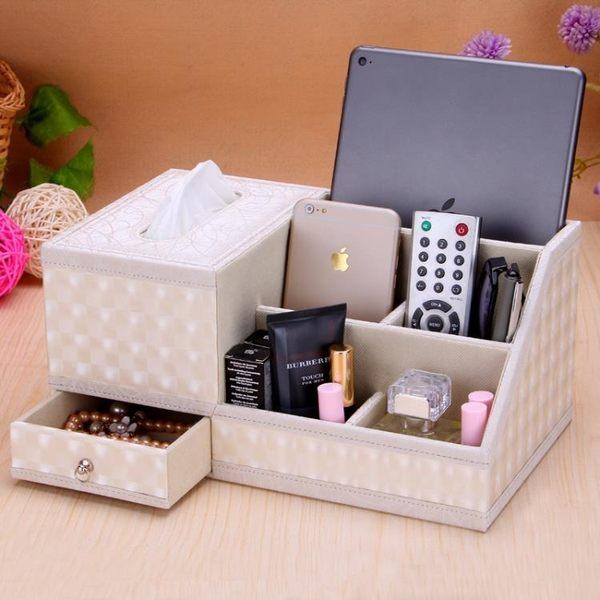 皮革餐巾抽紙盒多功能面紙盒木客廳茶幾桌面遙控器收納盒歐式創意超低價狂促
