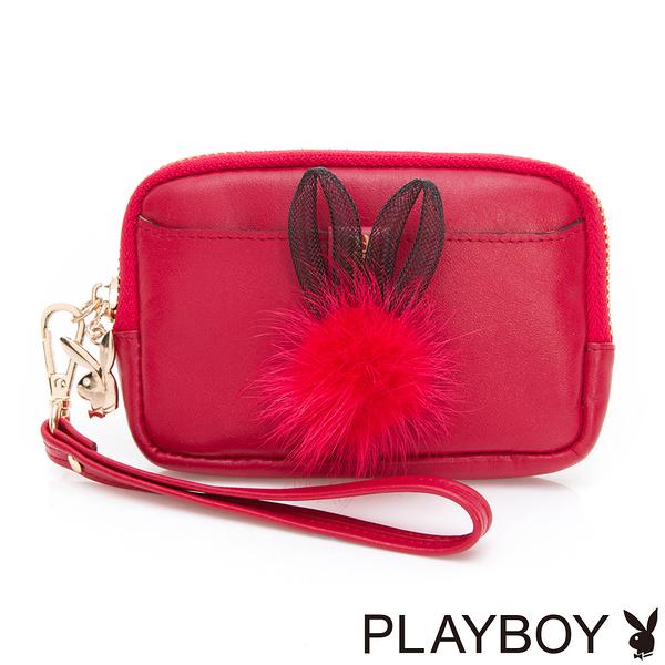 PLAYBOY- 零錢包 跳躍毛毛兔系列-復古俏皮紅