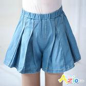Azio 女童 褲裙 百褶造型鬆緊牛仔短褲(藍) Azio Kids 美國派 童裝