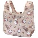 小禮堂 Hello Kitty 折疊尼龍環保便當袋 折疊環保袋 環保購物袋 午餐袋 (棕 滿版) 4930972-51291