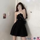 熱賣抹胸洋裝 抹胸連身裙女裝2021新款夏季設計感假兩件不規則網紗小眾辣妹裙子【618 狂歡】