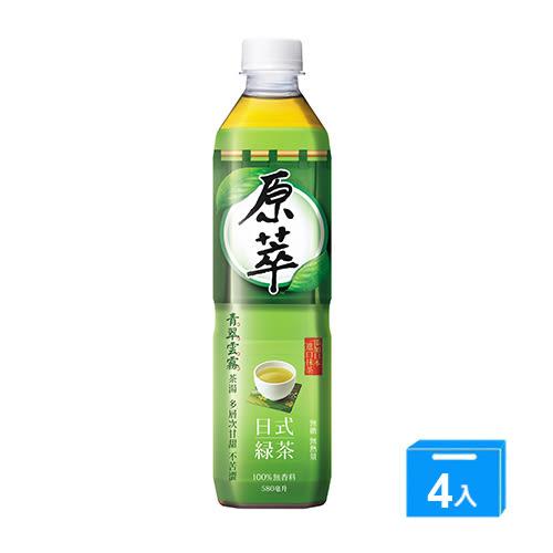 原萃日式綠茶580ml*4入/組【愛買】