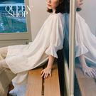 Queen Shop【01084513】簡約素色V領設計棉麻上衣 兩色售*現+預*