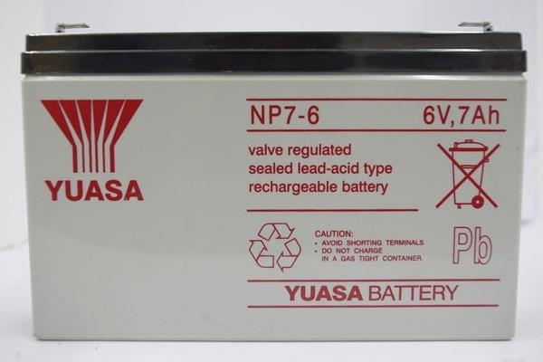 全館免運費【電池天地】湯淺鉛酸蓄電池NP7-6 6V,7Ah 緊急照明燈 玩具車 電子秤電池