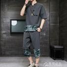 棉麻T恤夏季套裝男士休閒中國風棉麻套裝短袖運動套裝男韓版潮流寬松大碼 快速出貨