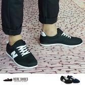 [Here Shoes]2色 男款 透氣洞洞網布質感 繫帶N字運動鞋 個性運動風舒適好穿 休閒鞋 N字鞋─AAC110