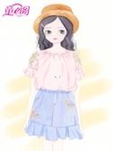 女童襯衣薄款2019夏季新款時尚圓領一字肩上衣中大童短袖襯衫韓版 嬌糖小屋