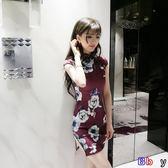 [百姓公館] 韓版夏裝夜店性感開叉修身顯瘦花色包臀收腰旗袍連身裙女