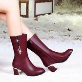 中筒靴 中筒靴女加絨保暖大碼馬丁靴尖頭短靴粗跟女鞋防滑雪地靴【韓國時尚週】
