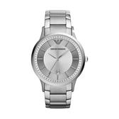 【Emporio Armani】美式經典極簡風紳士時尚鋼帶腕錶-亮眼銀/AR2478/台灣總代理公司貨享兩年保固