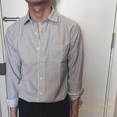 韓版修身條紋長袖襯衫男休閒復古方領寬鬆大碼襯衣【繁星小鎮】