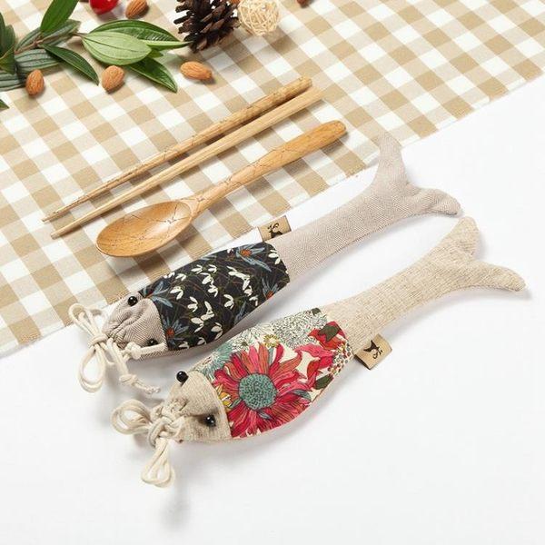 木質創意日式便攜餐具套裝布袋兒童學生 限時八八折