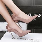 高跟鞋春秋季新款性感夜店超高跟鞋細跟尖頭鏤空黑色絨面單鞋女10cm 衣間迷你屋 交換禮物