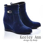 ★零碼出清★Keeley Ann 簡約質感 ~ 金屬牛麂皮楔型短靴(藍)