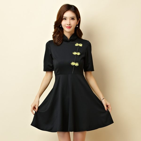 [9950-JK]改良式立領旗袍大裙襬表演洋裝小禮服~小三衣藏