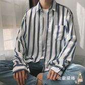 新款春季港風條紋情侶襯衫 寬鬆男生襯衣長袖潮流正韓小清新全館滿千88折