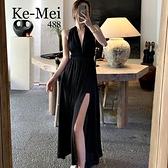 克妹Ke-Mei【AT65723】浪漫巴里島 性感深V美背蝴蝶結大擺長洋裝