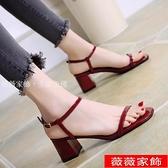 高跟涼鞋 紅色涼鞋女夏仙女風2021新款百搭一字扣帶網紅粗跟高跟鞋羅馬女鞋 薇薇