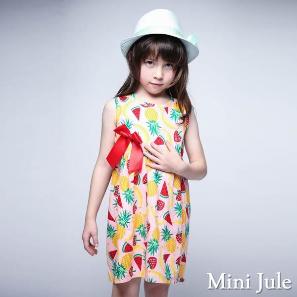 Mini Jule 女童 洋裝 盛夏水果印花蝴蝶結無袖洋裝(粉)