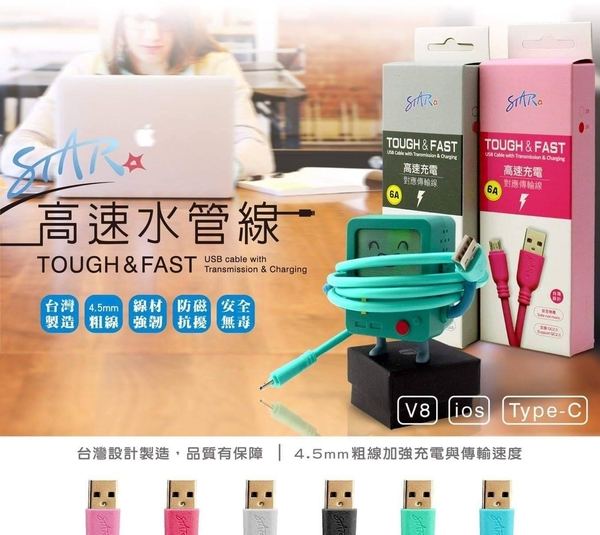 ASUS Z016D ZenFone3 Deluxe ZS570KL《6A台灣製Type-C高速水管線手機加長快充線充電線傳輸線短線》