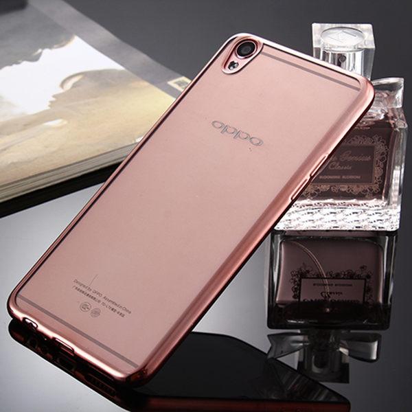 OPPO R9 電鍍軟殼 包邊超薄透明矽膠套 歐普 R9 防刮防摔TPU軟殼手機套 透明殼