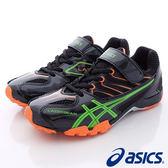 【ASICS】運動童鞋-亮色綠流線透氣運動款-664Y-9086黑綠(中大童)