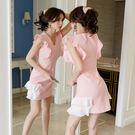VK精品服飾 韓國風拼色氣質不規則荷葉邊...