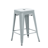 E-home瓦力工業風可堆疊金屬吧檯椅高61cm銀