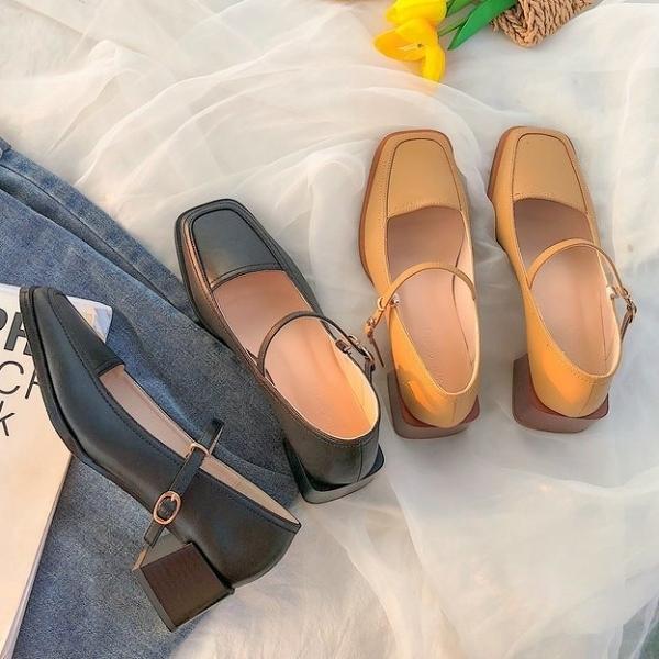 粗跟鞋.復古瑪莉珍素面方頭低跟包鞋.白鳥麗子