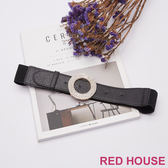Red House 蕾赫斯-水鑽釦環彈性腰帶(黑色)