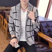 2018秋季新款風衣男中長款韓版男士針織開衫毛衣外套潮流披風『韓女王』
