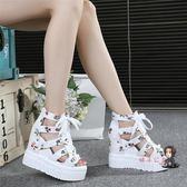 楔型涼鞋 2019夏季新款百搭內增高涼鞋厚底厚底楔形高跟鞋碎花魚嘴女鞋34碼綁帶 2色34-39